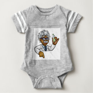 Scientist Cartoon Character Holding Test Tube Baby Bodysuit