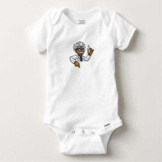 Scientist Cartoon Character Holding Test Tube Baby Onesie
