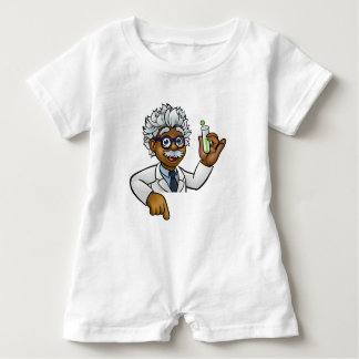 Scientist Cartoon Character Holding Test Tube Baby Romper