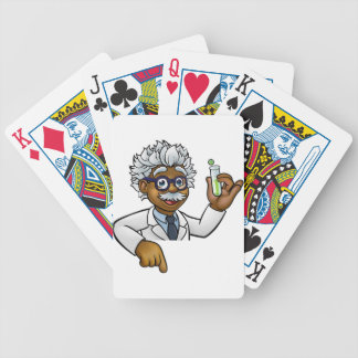 Scientist Cartoon Character Holding Test Tube Bicycle Playing Cards