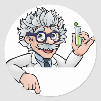 Scientist Cartoon Character Holding Test Tube Classic Round Sticker