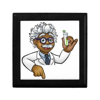 Scientist Cartoon Character Holding Test Tube Gift Box
