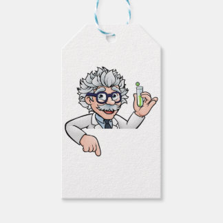 Scientist Cartoon Character Holding Test Tube Gift Tags