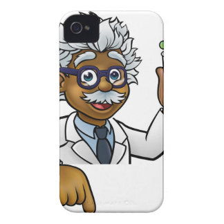 Scientist Cartoon Character Holding Test Tube iPhone 4 Cover