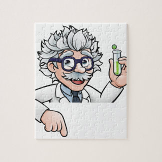 Scientist Cartoon Character Holding Test Tube Jigsaw Puzzle