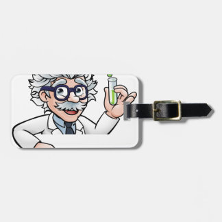 Scientist Cartoon Character Holding Test Tube Luggage Tag