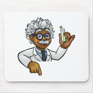 Scientist Cartoon Character Holding Test Tube Mouse Pad