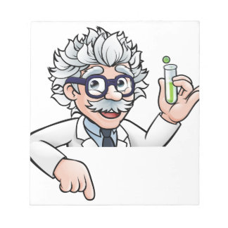 Scientist Cartoon Character Holding Test Tube Notepad