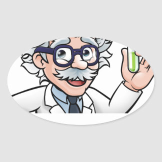 Scientist Cartoon Character Holding Test Tube Oval Sticker