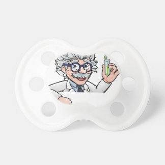 Scientist Cartoon Character Holding Test Tube Pacifier