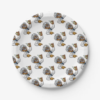 Scientist Cartoon Character Holding Test Tube Paper Plate