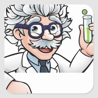 Scientist Cartoon Character Holding Test Tube Square Sticker