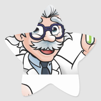 Scientist Cartoon Character Holding Test Tube Star Sticker