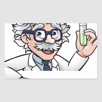 Scientist Cartoon Character Holding Test Tube Sticker