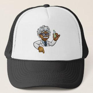 Scientist Cartoon Character Holding Test Tube Trucker Hat