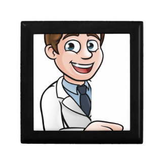 Scientist Cartoon Character Pointing at Sign Gift Box