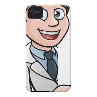 Scientist Cartoon Character Pointing at Sign iPhone 4 Covers