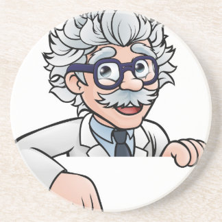 Scientist Cartoon Character Pointing Down Coaster