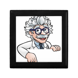 Scientist Cartoon Character Pointing Down Gift Box