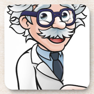 Scientist Cartoon Character Pointing Sign Coaster