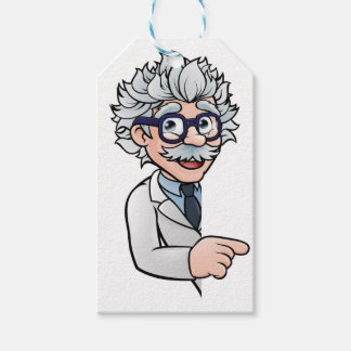 Scientist Cartoon Character Pointing Sign Gift Tags