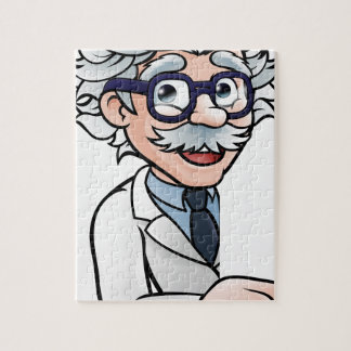 Scientist Cartoon Character Pointing Sign Jigsaw Puzzle