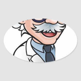 Scientist Cartoon Character Pointing Sign Oval Sticker