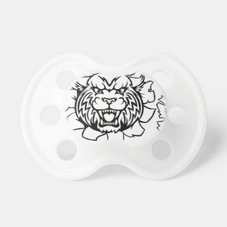 Scientist Cartoon Character Pointing Sign Pacifier