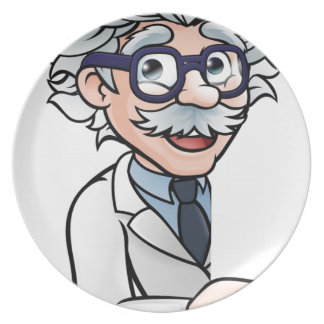 Scientist Cartoon Character Pointing Sign Plate