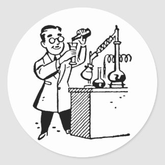 Scientist in Lab Coat Mixing Chemicals Classic Round Sticker