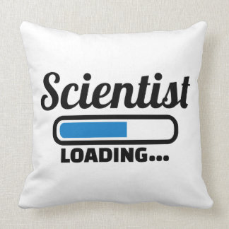 Scientist loading throw pillow