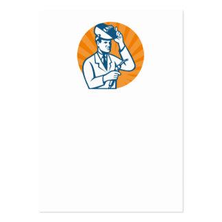 Scientist Researcher With Welding Torch Welder Vis Business Card
