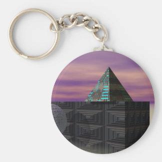 Scifi Art Pyramid Electronics Tech STEM Gifts Keychain