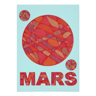 SciFi Geek Mars Red Planet Art 20 x 28 Print