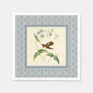 Scintillant Hummingbird Blue Damask Paper Napkins