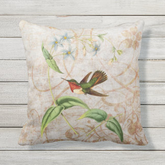 Scintillant Hummingbird Vintage Grunge Throw Pillow