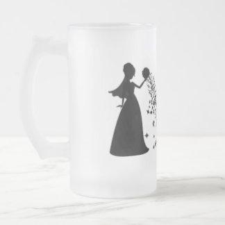 Scintillement de noir de silhouette de jeune marié tasse à café