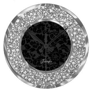 Scintillement de scintillement de diamants de Faux Grande Horloge Ronde