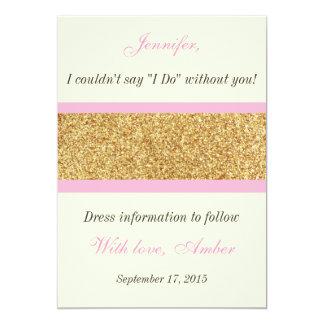 Scintillement d'or vous serez mon invitation de carton d'invitation  12,7 cm x 17,78 cm