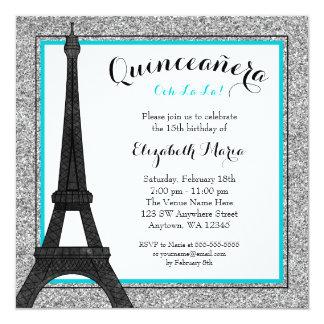 Scintillement fascinant turquoise Quinceanera Carton D'invitation 13,33 Cm