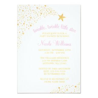 Scintillement peu de baby shower de rose d'or carton d'invitation  12,7 cm x 17,78 cm