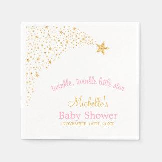 Scintillement peu de baby shower de rose d'or serviettes en papier