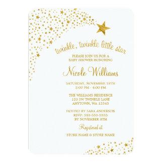 Scintillement peu de baby shower d'or de Faux Carton D'invitation 11,43 Cm X 15,87 Cm