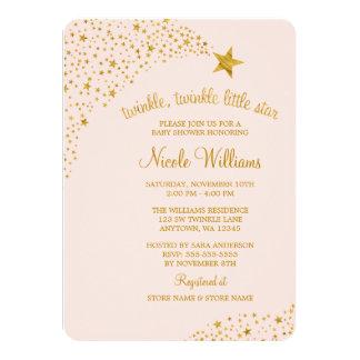 Scintillement peu de baby shower d'or de rose carton d'invitation  11,43 cm x 15,87 cm