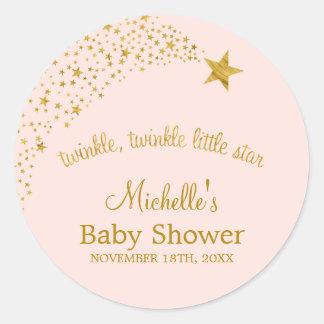 Scintillement peu de baby shower d'or de rose sticker rond