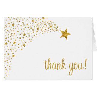 Scintillement peu de Merci d'or blanc d'étoile Carte De Correspondance