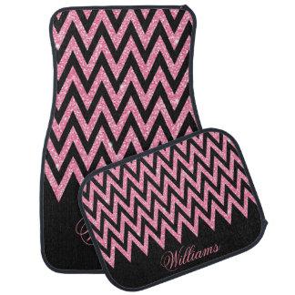 Scintillement rose-clair de faux de zigzag à la tapis de voiture