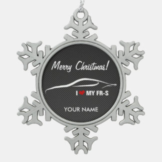 "Scion FR-S ""I love my FR-S"" Personalized Snowflake Pewter Christmas Ornament"