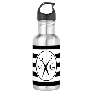 Scissor Monogram Initials Hair Stylist Barber Shop 532 Ml Water Bottle