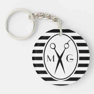Scissor Monogram Initials Hair Stylist Barber Shop Keychain